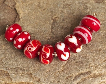 Handmade Lampwork Beads, Red White Earring Pairs, Glass Bead Set of 8