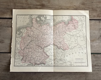 Antique Map of Germany.  1890s. German Map. Authentic 125yr old Map. Historical Print, Lithograph for Framing. Beautiful European Map