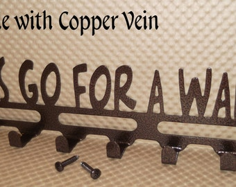 "Dog Leash Holder ""Let's go for a walk!"", Key Holder, 14 inches Wide, Copper Vein, Rescue Shelter Dog,  Pet gift, Powder coated, Solid Steel"