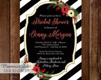 Bridal Shower Invitation, Winter Bridal Shower Invitation, Christmas Bridal Shower Invite, Black and White Stripes Invitation, Winter Floral