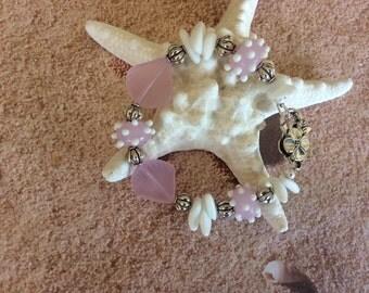 Sea Glass, Bracelet, Handmade, Blossom Pink, Lampwork beads, Beach, Gift, Nautical, Seashore, Sea shells
