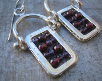 Hinged Garnet and Amethyst Abacus Earrings in Sterling Silver