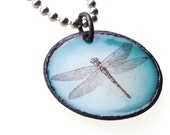 Dragonfly on Green Enamel Circle Pendant on Stainless Steel Ball Chain Necklace