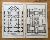 1757 two PLANS for a PALACE & ABBEY engravings - original antique french architecture landscape building plans - set of two prints