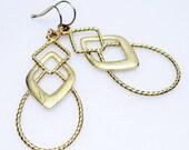 SALE Matte Gold Earrings - Fashion Earrings - Diamond Shape - Unique - Pendants - Dangle