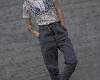 Winter Sale 15% Off!!! BLACK Light stone washed denim cotton baggy pants with tying