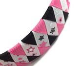 Hot Pink, Black Stars *Rock Star* Woven Headband - Handmade - Pink, Black  Grosgrain Ribbon Woven Braided Headband - 1 inch Braided Headband