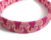 Love, Valentine's Day Handmade Woven Headband - Light & Dark Pink Valentines Ribbon Braided Headband - 1 inch Braided Headband