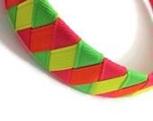 "Neon Green, Neon Yellow, Neon Pink, Neon Orange Woven 1"" Headband - Handmade"