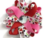 Red & Pink Watermelon Small Hair Bow Set - Handmade - Hot Pink, Red Watermelons Small 2.5 inch Loopy Hair Bow Set - Summer Hair Bow Set