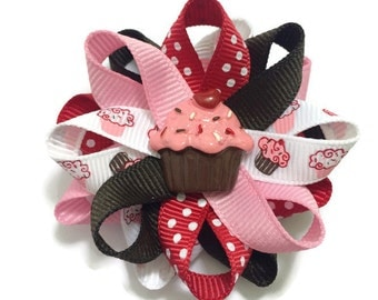 Cupcake Hair Bows, Handmade Hair Bows, Birthday Hair Bow