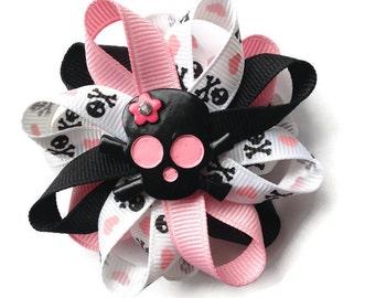 Black, Pink Skull Hair Bow - 3 inch Hair Bow - Skull Hair Bow Barrette - French Clip