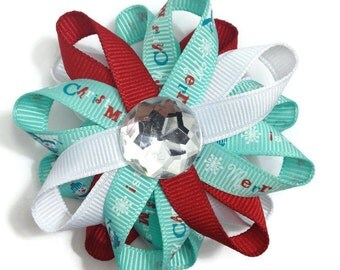Aqua, Red & White Merry Christmas Hair Bows, Winter Hair Bows, Handmade Hair Bows, No Slip Hair Bows, Hair Accessories, Christmas Gifts