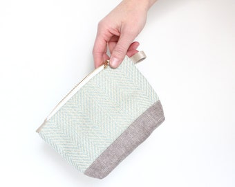 Fabric makeup pouch, herringbone woven fabric, toiletry case, light turquoise