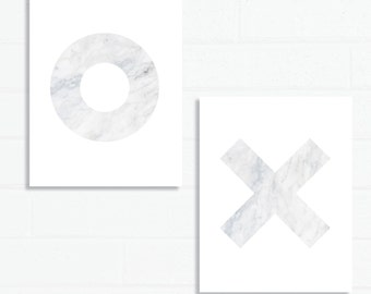 Set of Two XO Marble Prints