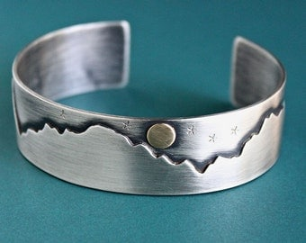 Mens Cuff Bracelet, Mountains Stars Moon, Sterling Silver