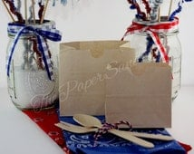 Country Wedding Favor Bags, I Do BBQ, Grease Resistant Bags, Mini Brown Paper Bags, Snack Sacks, Donut Bags, Bagel Bags, Cookie Bags