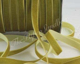 """Chartreuse Velvet Ribbon, 3/8"""" w by the yard, Olive Green Velvet Ribbon, Velvet Chokers, Weddings, Thanksgiving, Gift Wrapping, Invitations"""