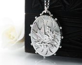 Antique Locket Sterling Silver | Oval Victorian Locket | 1887 English Hallmark | Aesthetic Period Bird with Love Letter - 24 Inch Long Chain