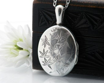 Antique Locket | Large Sterling Silver Victorian Locket | Aesthetic Era Bamboo, Spider Web & Butterfly Locket - 34 Inch Long Chain Included