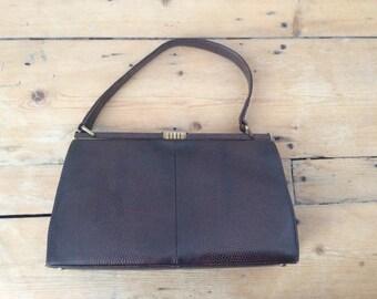 Vintage 1950s Mappin & Webb Brown Lizard Skin Handbag Leather Bag Purse