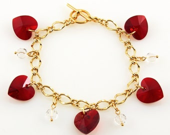 Red Heart Charm Bracelet Gold Chain, Heart Jewelry, Romantic Gifts for Girlfriend, Colorful Crystals Bracelet Swarovski, Valentines Day Gift