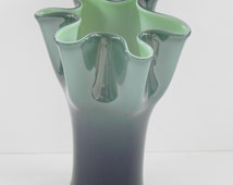 Cased Glass Vase with Ruffled Top. Slate Blue Exterior with Aqua Lined Interior.