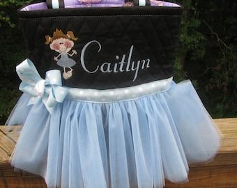 Personalized Blue Tutu Bag with Ballet Dancer