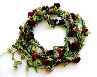 Beaded Crochet Necklace, Multistrand long lariat Necklace crochet flowers jewelry