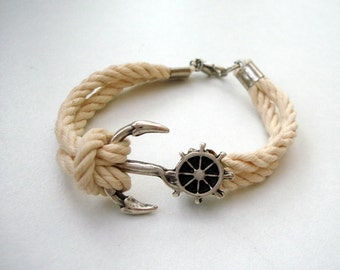 Nautical sailor Knot Rope Bracelet, Anchor Bracelet for men, Anchor Bracelet Women