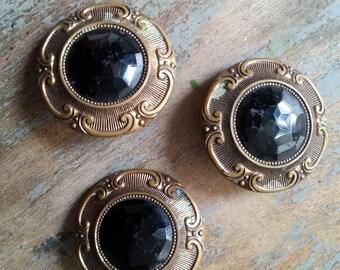 Three Gay 90's Gesetzlich Geschützt  Glass and Brass Buttons