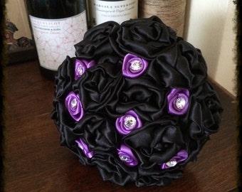 Black and Purple Bridal Fabric bouquet Gothic Wedding alternative bouquet