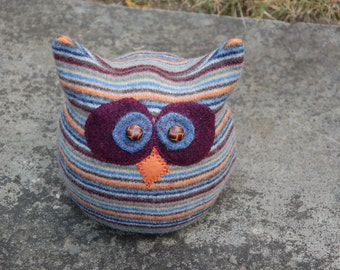 Upcycled Felted Wool Owl Hat