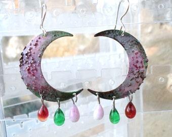 Enameled Crescent Earrings, Glass Chandelier Earrings, Lampwork Earrings, Handmade Mixed Media Jewelry Valentine's Day Gift