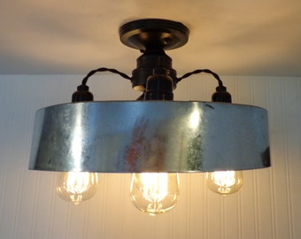 Modern INDUSTRIAL Light with Chicken Wire & Dimmable Edison Bulbs