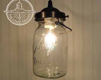 Mason Jar PENDANT Light with Vintage Quart Jar - Lighting Ceiling Flush Mount Hardwired Hanging Repurpose Recycle Kitchen Bathroom LampGoods