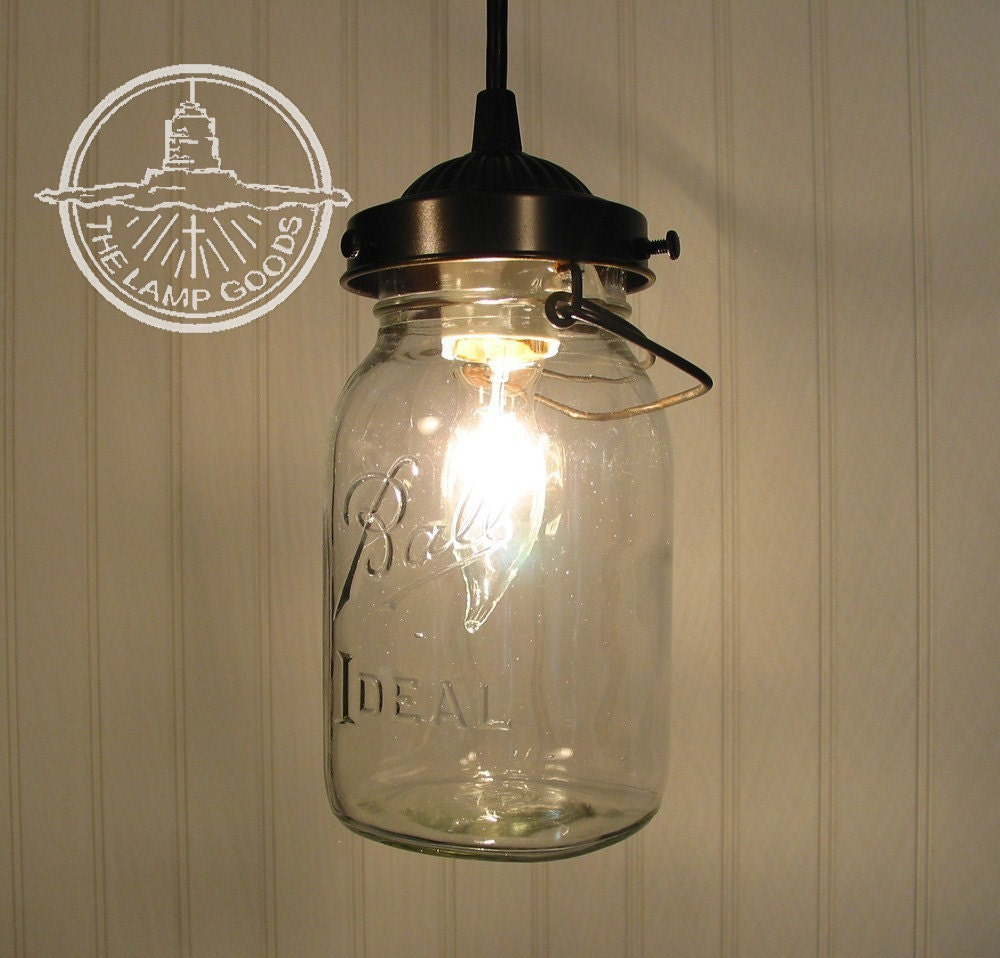 Mason Jar Pendant Light With Vintage Quart Jar Farmhouse