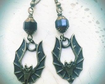 Bat Earrings Halloween Witch by MinouBazaar