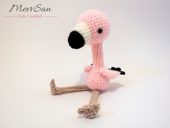 Crochet PATTERN PDF - Amigurumi Flamingo - crochet animal pattern, amigurumi bird pattern, cute crochet flamingo plush, bird softie,