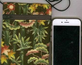 Cell Phone & Passport Bag - Quilted Cotton - Green Bamboo Asian - Long strap - Fits iphone
