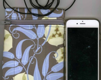 Cell Phone & Passport Bag - Quilted Cotton - Blue Floral - Long strap - Fits iphone