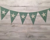 robins egg blue burlap star pennant, burlap bunting, nursery decor