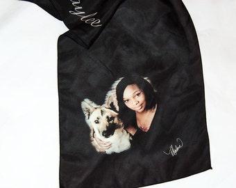 Custom Made Digital Print  Scarf Silk from Your Pet Photos or Art