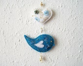 Felt Ornament Blue Bird and White Heart Nursery Wall Hanging with Gold Plated Moon and Star Charm Handsewn