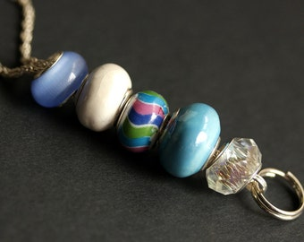 Cornflower Blue Badge Lanyard. Sky Blue Lanyard. Id Lanyard. Beaded Lanyard. Badge Holder. Badge Necklace. Handmade Lanyard. Glass Lanyard.