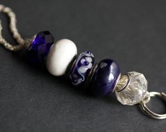 Badge Holder. Navy Blue Lanyard. Dark Blue Id Lanyard. Badge Leash. Royal Blue Handmade Lanyard. Cobalt Blue Beaded Lanyard. Badge Necklace.