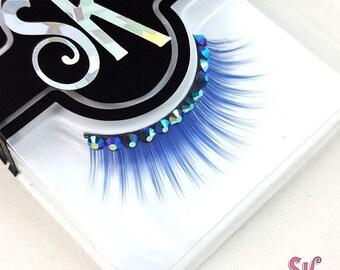 CLEARANCE Blue Rhinestone False Eyelashes - SugarKitty Couture