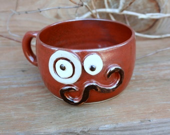 Mens Shaving Cup. Handlebar Mustache Monocle Eyepiece Soup Bowl in Red Brown. Unique Guys Gift. Fall Chili Bowl. Large Latte Mug Handle.