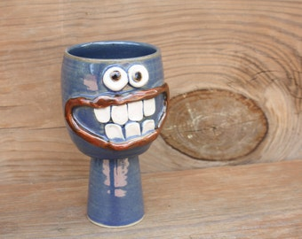 Ceramic Goblet. Funny Wine Glass in Blue. Stoneware Clay Pottery Chalice. Goofy Drinking Glass for Man or Woman.