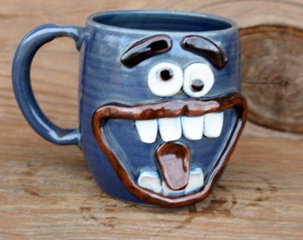 Large Beer Mug in Blue. Extremely Happy Big Smiley Face Coffee Cup. Large 20 Ounce Ceramic Mug. Funny Unique Man Husband Boyfriend Gift